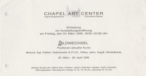 Chapel Art Center Köln Gruppenausstellung 1995 001