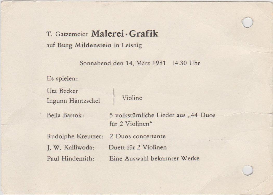 Einladung Ausstellung Burg Mildenstein Leisnig 1981