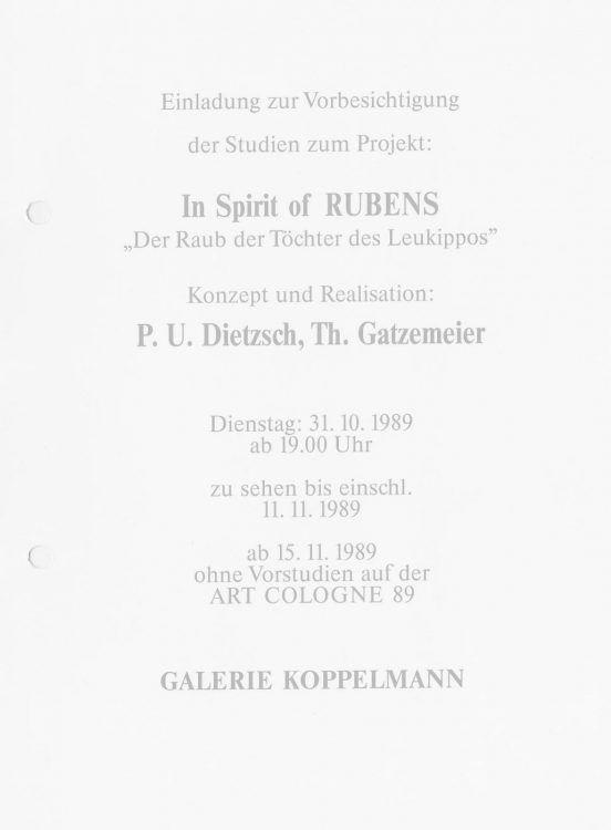 In Spirit of Rubens Einladung 1989