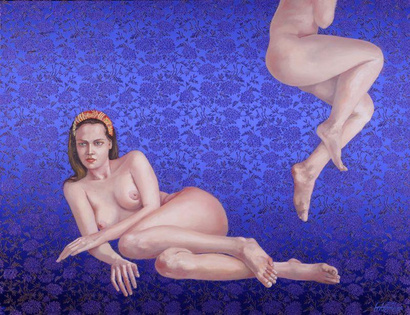 Thomas Gatzemeier Orient | 2011 Acryl und Öl auf Seide 100 x 130 cm