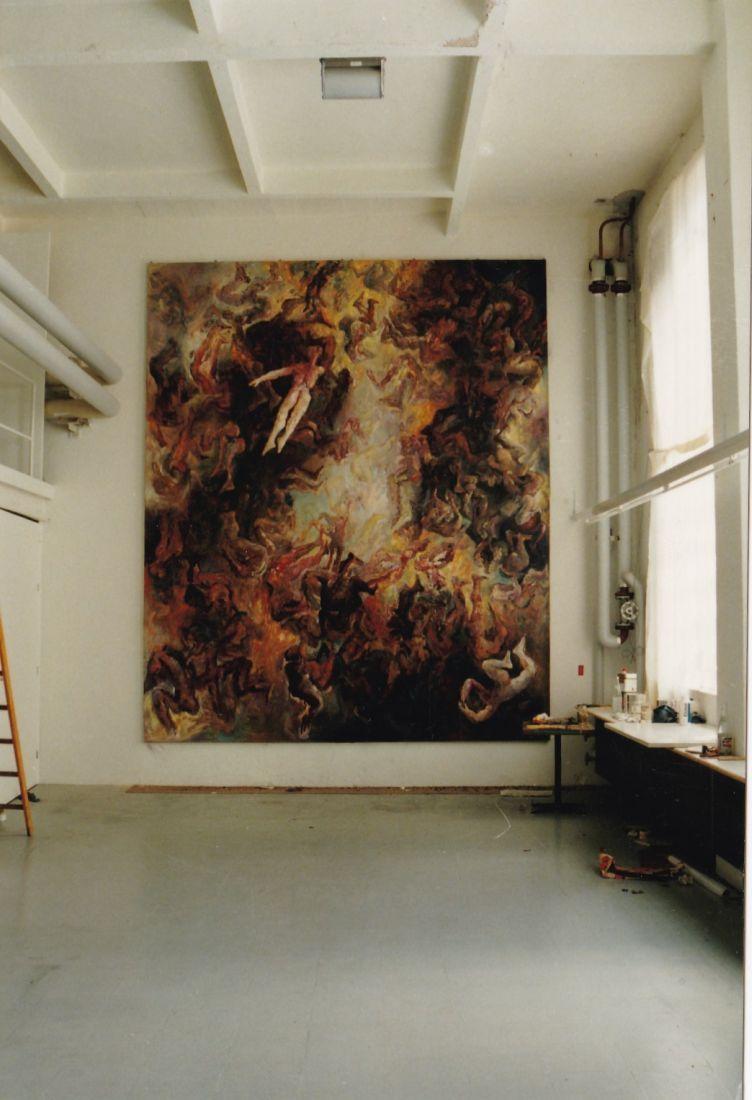 Höllensturz Zürich 1990 Öl auf Leinwand 480 x 100 cm
