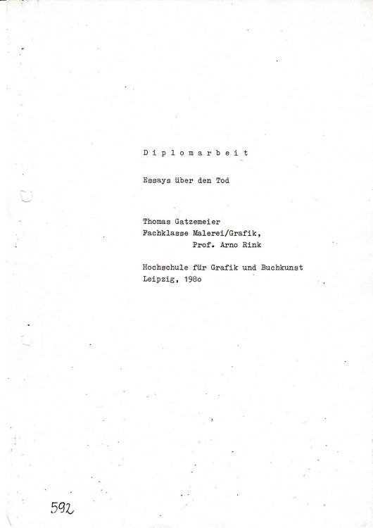 """Diplomarbeit """"Essays über den Tod"""" 1980"""