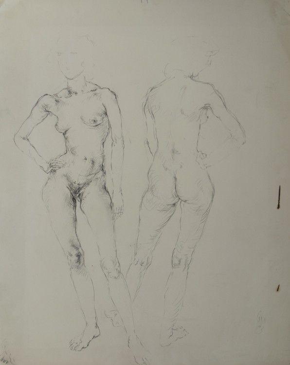 Entwurf für Zwei Frauen 1983 Blei auf Bütten 52,7 x 41,5 cm