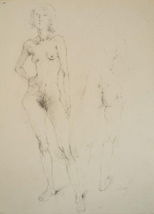 Zwei Frauen 1983 Blei auf Papier 46,5 x 34 cm