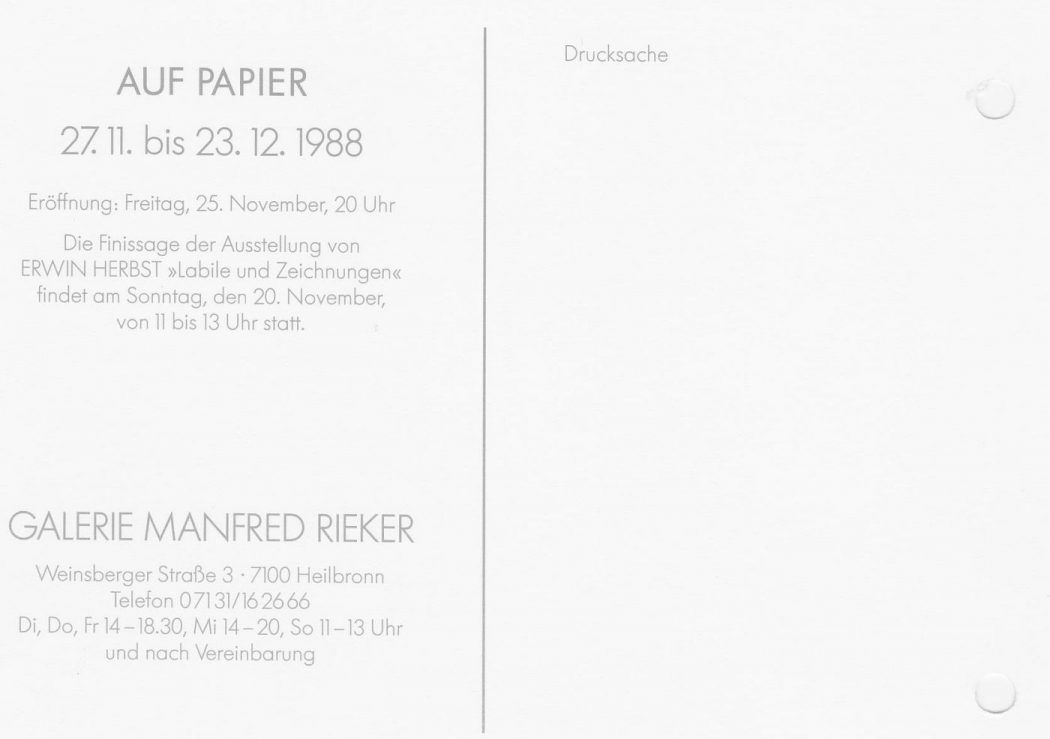 Auf Papier Manfred Rieker Gruppenausstellung 1988