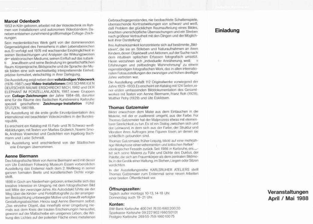 Badischer Kunstverein Ausstellung Odenbach | Biermann | Gatzemeier 1988
