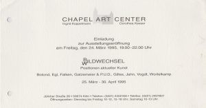 Chapel Art Center Köln Gruppenausstellung 1995 001