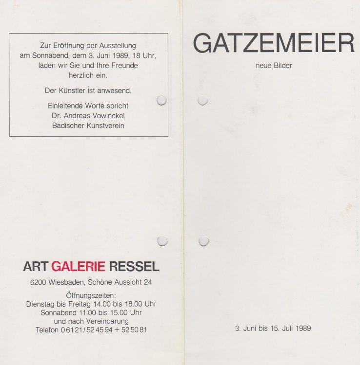 Gatzemeier Galerie Ressel Einladung