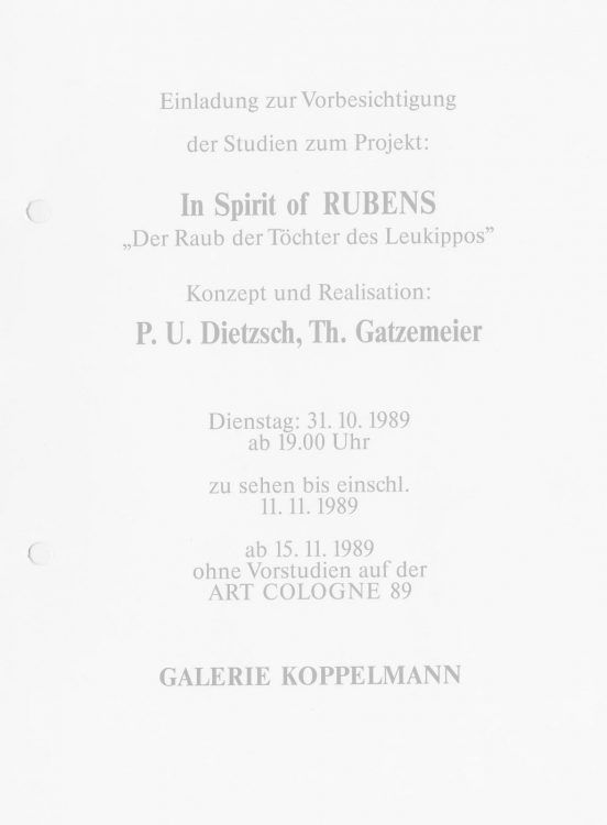 In Spirit of Rubens Einladung 1989