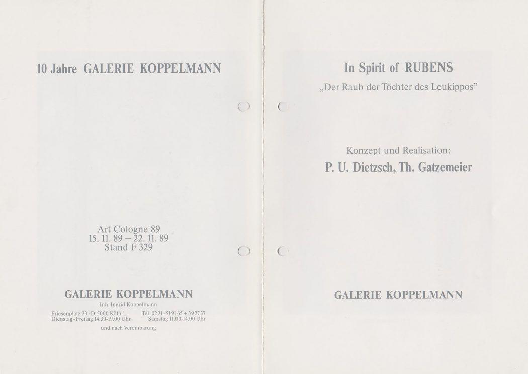 In Spirit of Rubens Galerie Koppelmann Köln 1989