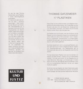 Langericht Lübeck 17 Plastiken 1997 Text