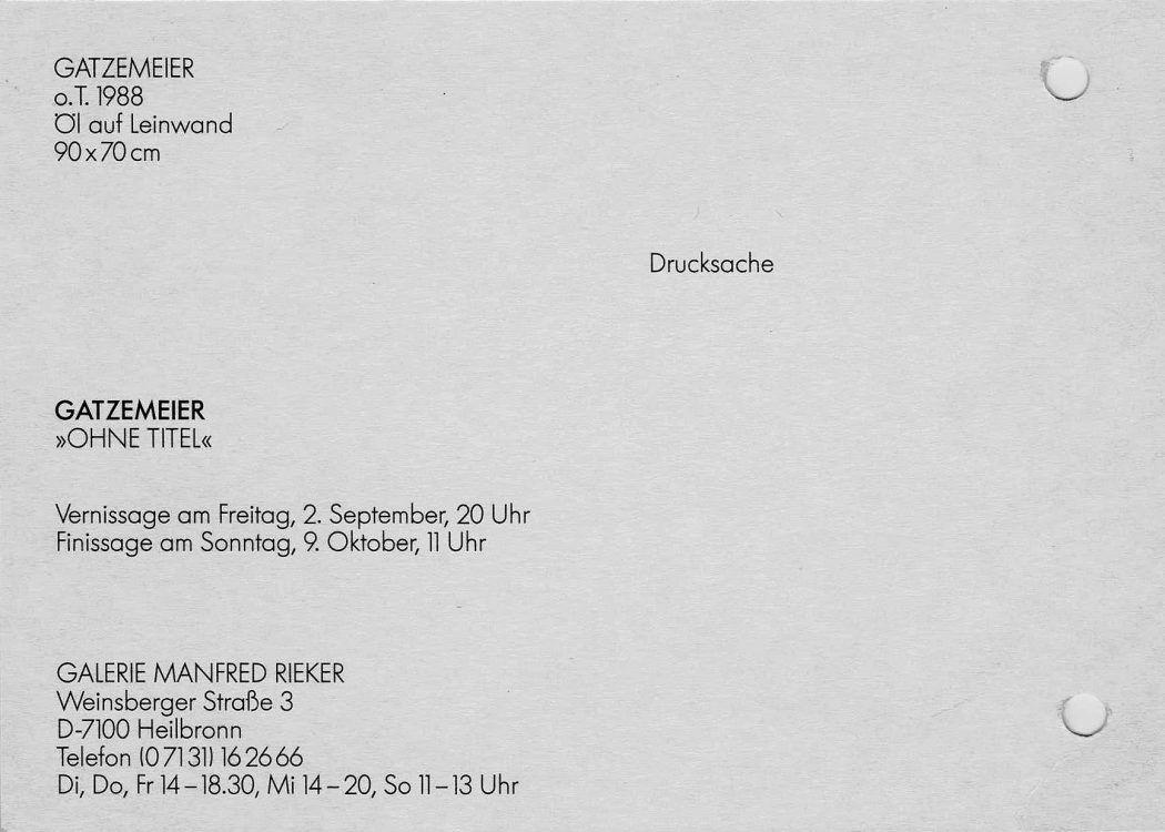 Manfred Rieker Heilbronn Einzelausstellung Gatzemeier 1988
