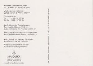 Wartbergkirche Heilbronn Ausstellung Leib 2003