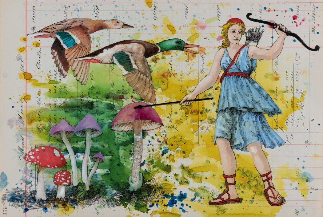 Diana und die Gänse 2017 Mischtechnik auf Kontopapier 31,2cm x 46cm