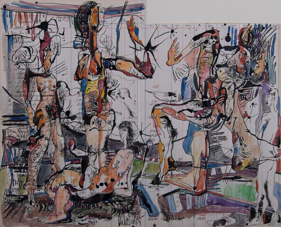 Gedränge auf dem Kontoblatt 1999 Tusche, Aquarell auf Kontopapier 42 x 51,5 cm