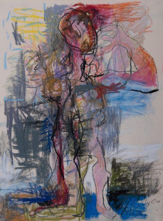 Zeternde Frau 2000 Pastell auf Bütten 52,5 x 39 cm