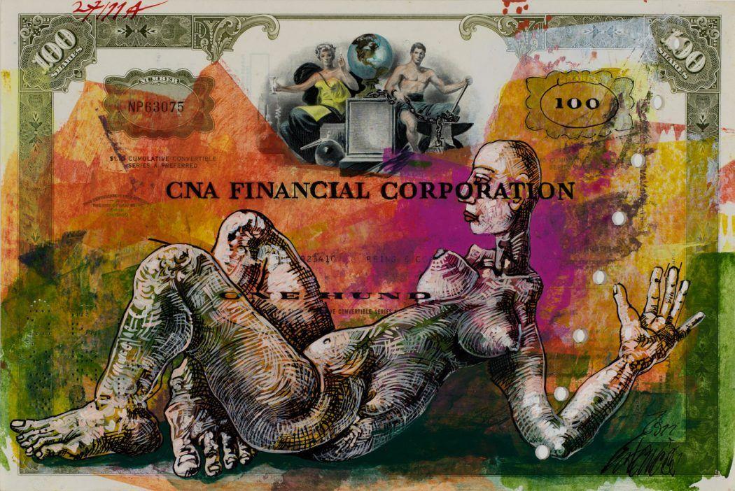 Thomas Gatzemeier | CNA FINANCIAL | 2011 | Mischtechnik auf Aktie | 20,4 x 30,5 cm