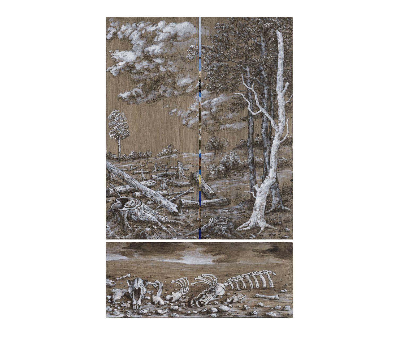 Thomas Gatzemeier | Entwurf Flügelaltar | Grisaille | Acryl auf MDF | 81 x 50 cm