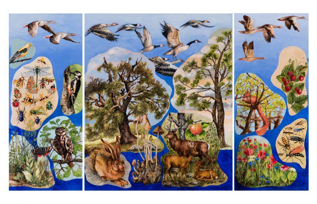 Thomas Gatzemeier | Flügelaltar Vorentwurf | 2018 | Acryl auf MDF. | 60 x 102 cm