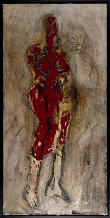 P.U.D. Gatzemeier Variation Pelzchen 1990 Öl, Kalkfarbe und Kreide auf Leinwand 200 x 100 cm