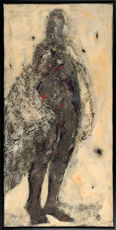 P.U.D.-Gatzemeier-Variation-Pelzchen-1990-Öl,-Kalkfarbe-und-Stoffcollage-auf-Leinwand-200-x-100-cm