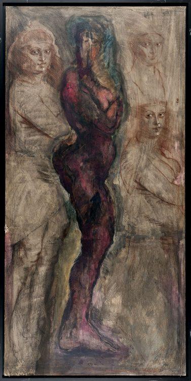 P.U.D.-Gatzemeier-Variation-Pelzchen-1990-Öl,-Rötel,-Sepia-und-Kreide-auf-Leinwand-200-x-100-cm