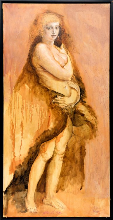 P.U.D. Gatzemeier Variation Pelzchen 1990 Lasur, Ölfarbe, Kohle auf Leinwand 200 x 100 cm