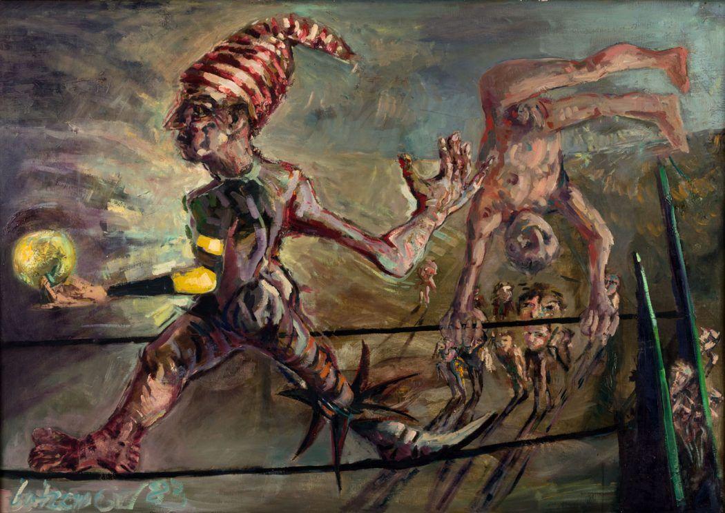 Thomas Gatzemeier Seiltänzer 1983 Öl auf Sperrholz 90 x 130 cm