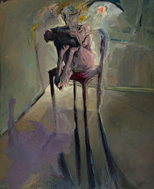 Thomas Gatzemeier Akt auf Stuhl 1984 Öl auf Leinwand 170 x 140 cm