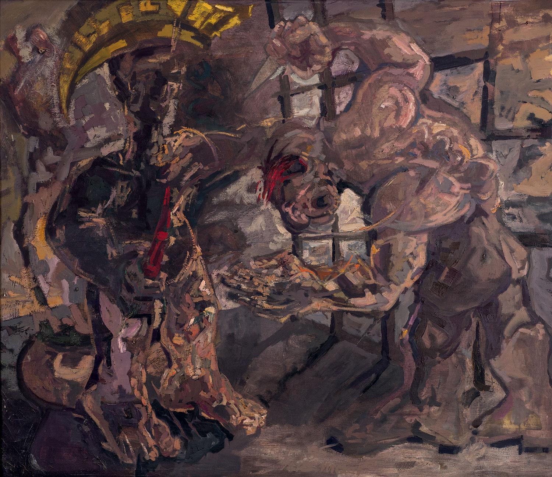Thomas Gatzemeier Antike Szene mit Krieger 1985 Öl auf Leinwand 115 x 136 cm