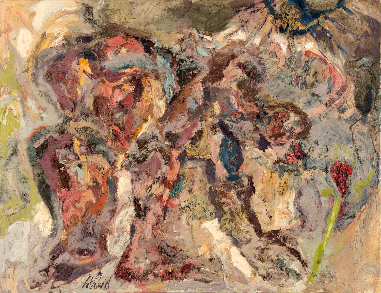 Thomas Gatzemeier Blumenpflückerin 1989 Öl auf Leinwand 100 x 130 cm