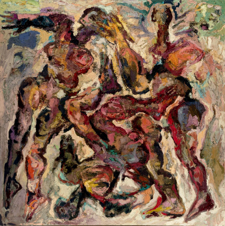 Thomas Gatzemeier Der Sturz 1989 Öl auf Leinwand 200 x 200 cm