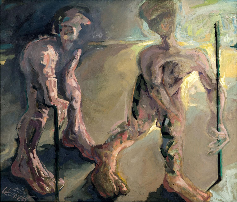 Thomas Gatzemeier Die Blinden 1985 Öl auf Leinwand 110 x 130 cm
