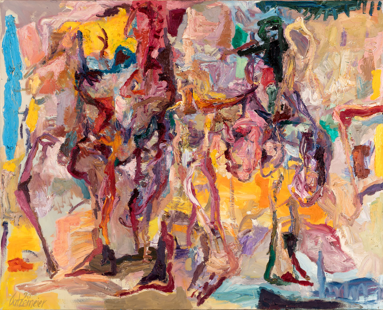 Thomas Gatzemeier Feuer mit Personal 1990 Öl auf Leinwand 125 x 155 cm