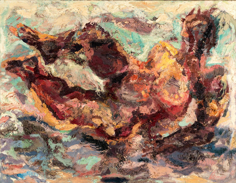 Thomas Gatzemeier Frau im Bade 1989 Öl auf Leinwand 100 x 130 cm
