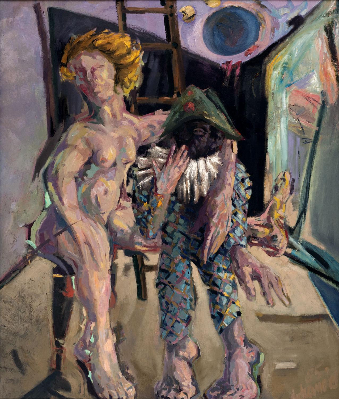 Thomas Gatzemeier Harlekin und Columbine 1985 Öl auf Leinwand 130 x 110 cm