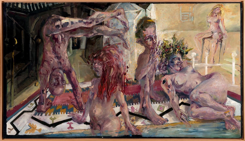 Thomas Gatzemeier Kellerbad 1984 Öl auf Sperrholz 110 x 206 cm