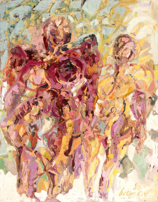 Thomas Gatzemeier Kleine und große Frau 1986 Öl auf Leinwand 140 x 110 cm