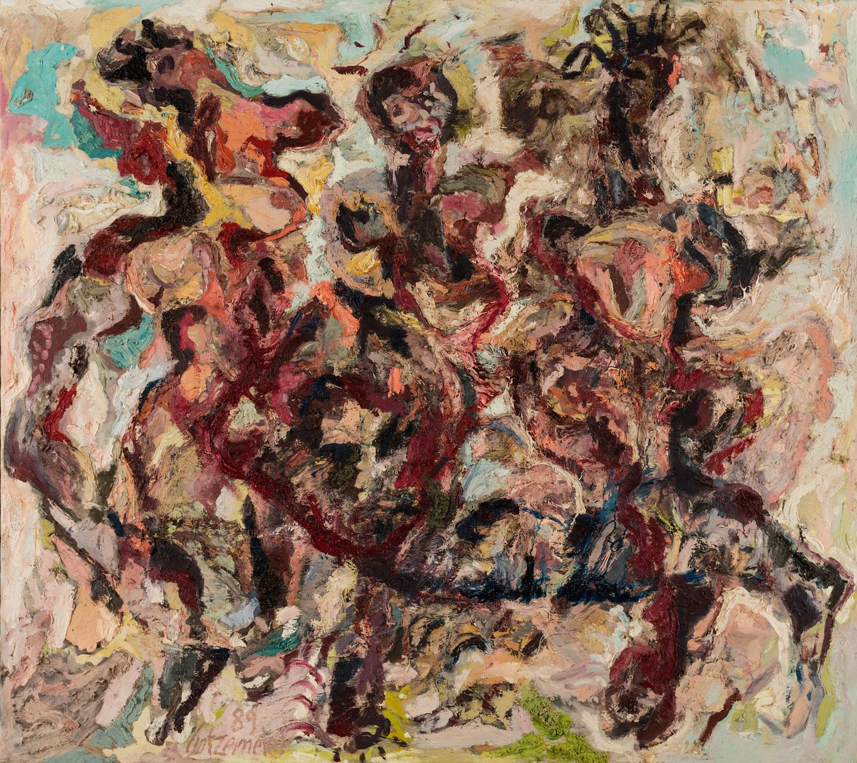 Thomas Gatzemeier Liegende vor Grazien 1989 Öl auf Leinwand 180 x 200 cm