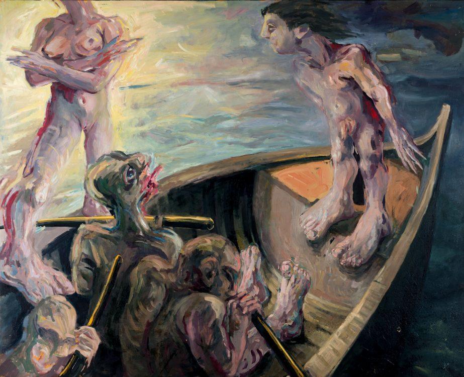 Thomas Gatzemeier Odysseus und die Sirenen 1983 Öl auf Hartfaser 140 x 165 cm