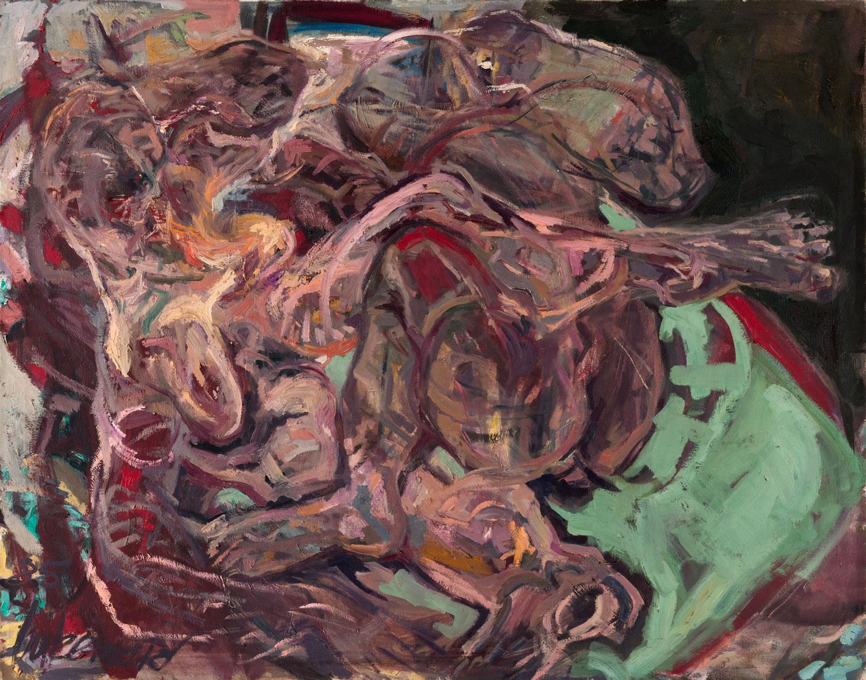 Thomas Gatzemeier | Paar auf Bett | 1985 | Öl auf Leinwand | 110 x 140 cm