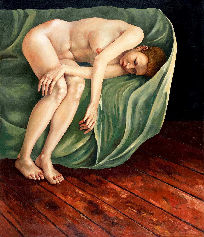Thomas Gatzemeier | Sarah auf Tuch | 2004 | Öl auf Leinwand | 115 x 100 cm