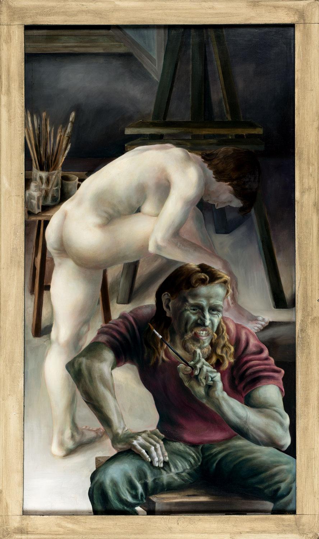 Thomas Gatzemeier | Selbstbildnis mit Modell | 1980 | Öl auf Sperrholz | 170 x 100 cm