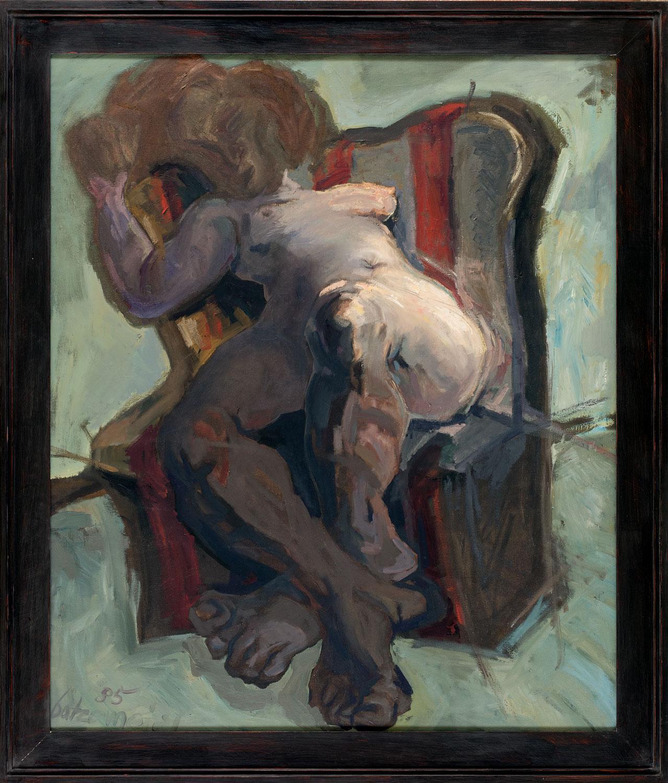 Thomas Gatzemeier Sitzende 1985 Öl auf Leinwand 130 x 110 cm