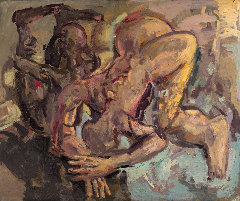 Thomas Gatzemeier | Verbeugung | 1985 | Öl auf Leinwand | 110 x 130 cm
