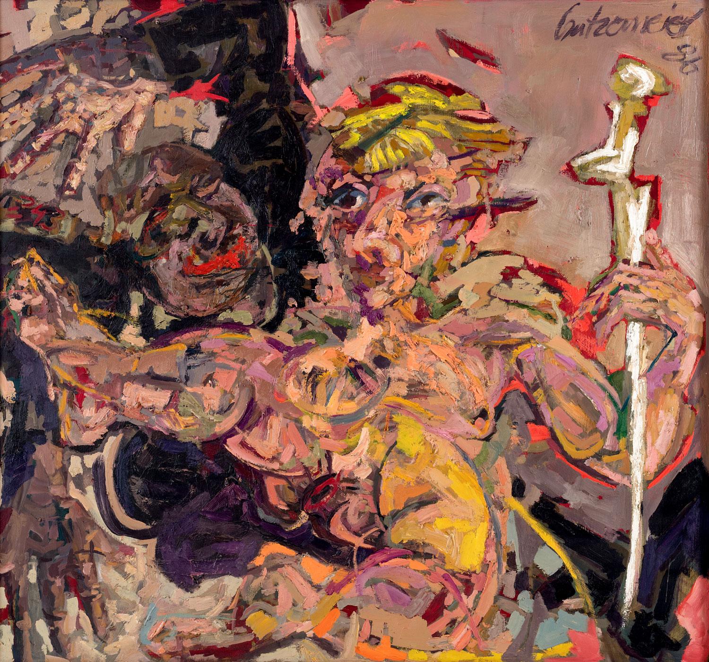 Thomas Gatzemeier Vor dem Gemätzel 1986 Öl auf Leinwand 125 x 135 cm
