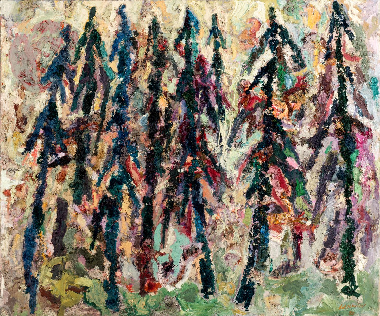 Thomas Gatzemeier Waldstück 1990 Öl auf Leinwand 130 x155 cm