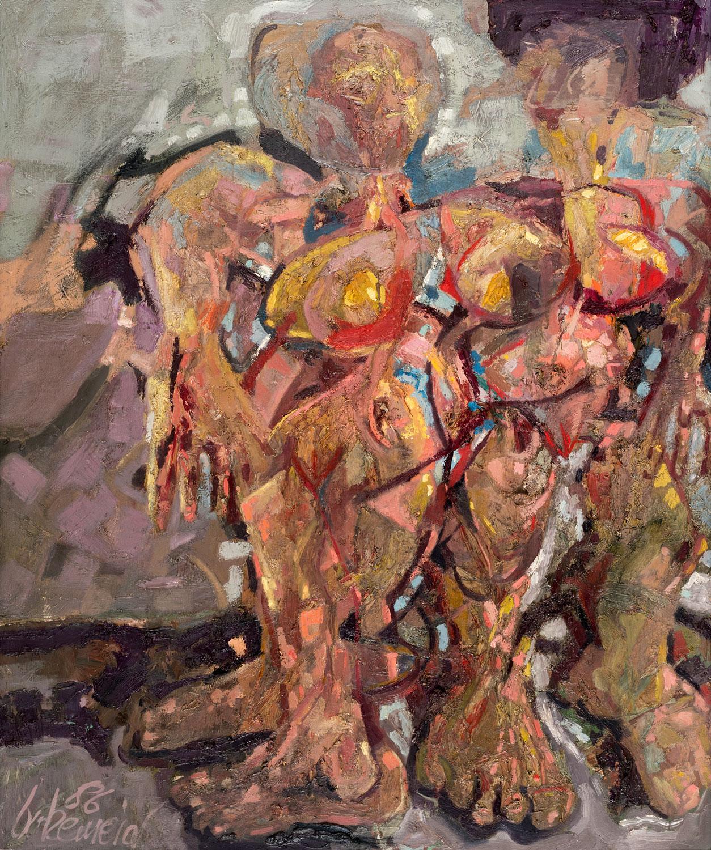 Thomas Gatzemeier Zwei Frauen I 1986 Öl auf Spanplatte 118 x 140 cm