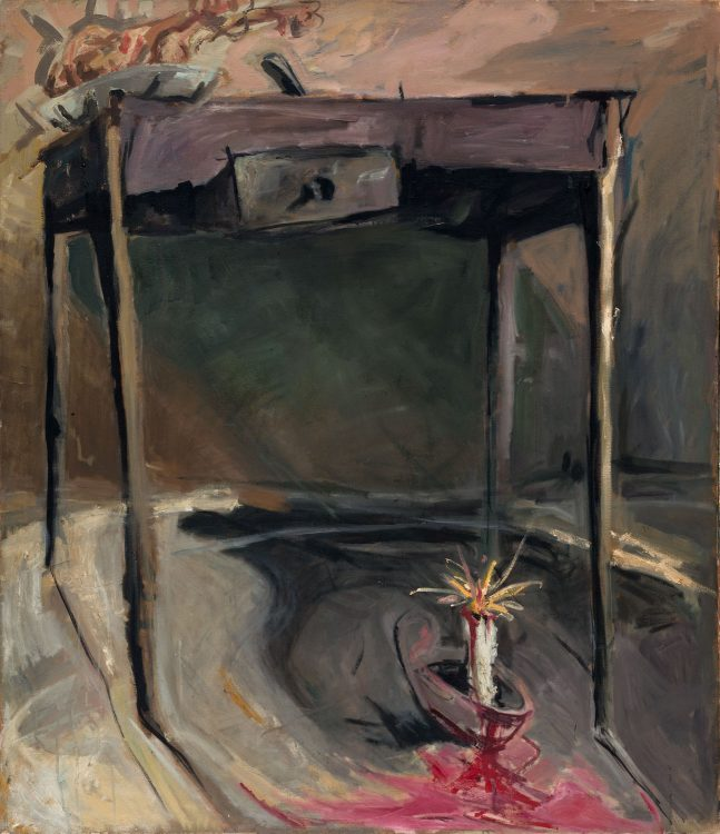 Thomas Gatzemeier | 0.T. (Tisch mit Kerze) | 1984 | Öl auf Leinwand | 140 x 120 cm