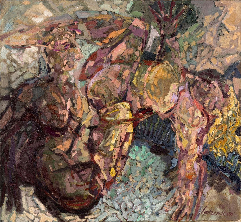 Thomas Gatzemeier Zwei Damen im Zimmer 1986 Öl auf Leinwand 120 x 130 cm